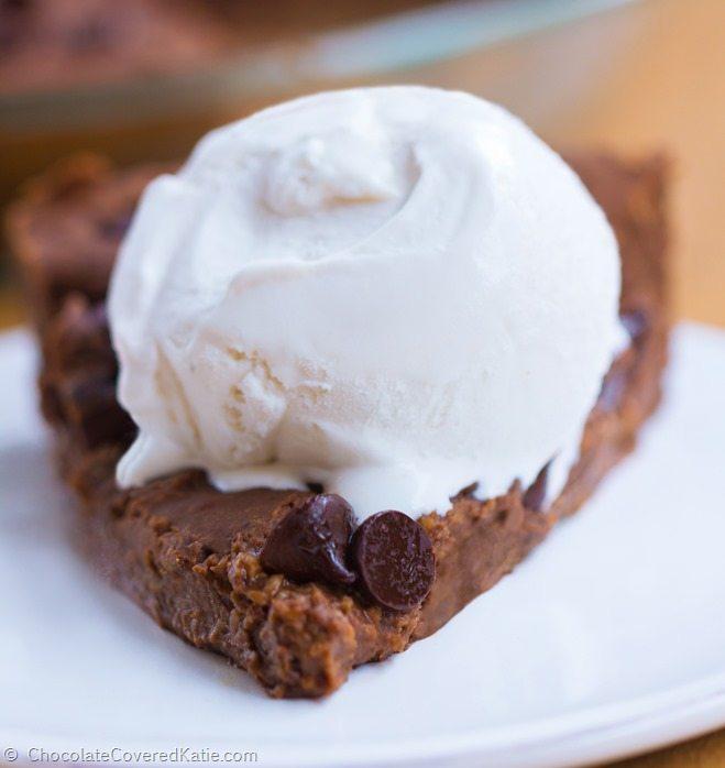 Flourless Chocolate Chip Brownie Pie