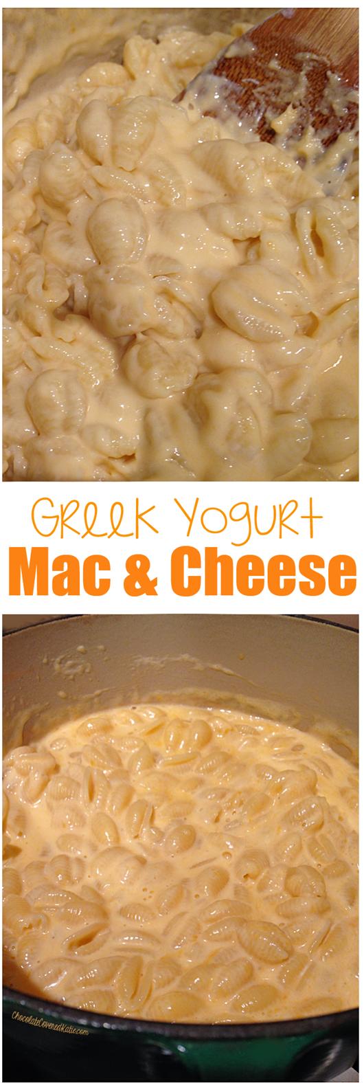 The creamiest healthy mac & cheese recipe - from @choccoveredkt... uses Greek yogurt in place of heavy cream. Recipe: http://chocolatecoveredkatie.com/2015/03/05/greek-yogurt-mac-cheese/