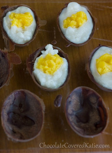 Homemade Cadbury Crème Eggs recipe that doesn't use sugar, corn syrup, or artificial colors or additives. Instructions here: http://chocolatecoveredkatie.com/2013/03/20/healthy-cadbury-creme-eggs/