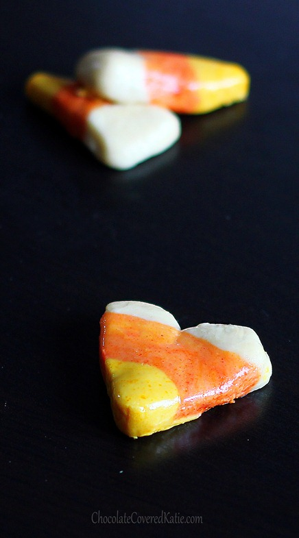 Healthier candy corn recipe you can do at home - without the artificial ingredients & corn syrup. From @choccoveredkt... Full recipe: http://chocolatecoveredkatie.com/2012/10/28/vegan-candy-corn/