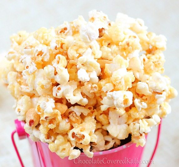 Almost instant healthy caramel popcorn that is salty and sweet and just plain good. https://chocolatecoveredkatie.com/2013/02/01/healthy-caramel-popcorn/