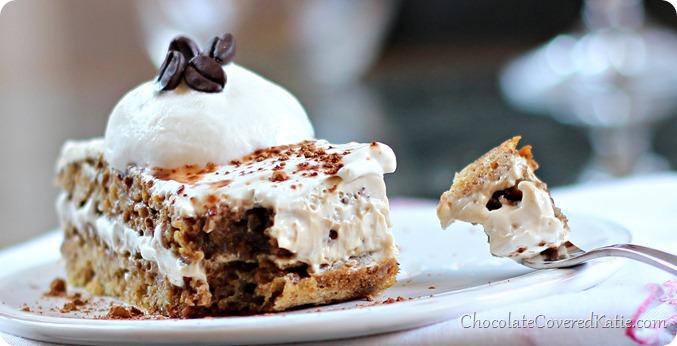 Healthy Tiramisu: light, rich, and creamy... all for under 100 calories: http://chocolatecoveredkatie.com/2014/03/27/healthy-tiramisu-recipe/
