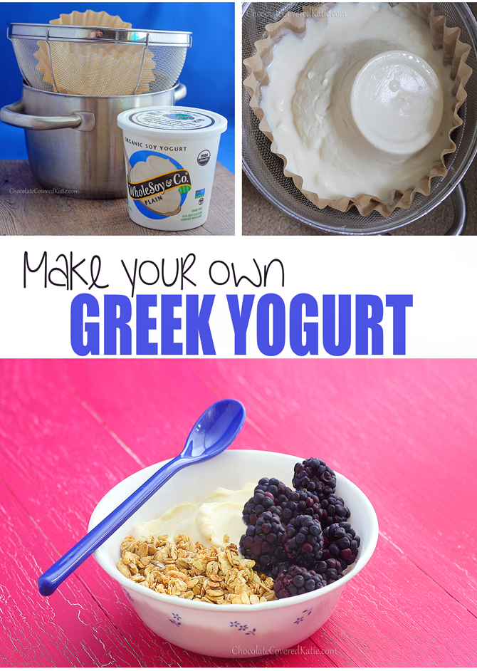 Learn how to make Greek yogurt at home - with just one ingredient and no yogurt starter or fancy machines: http://chocolatecoveredkatie.com/2015/02/15/how-to-make-greek-yogurt-homemade/