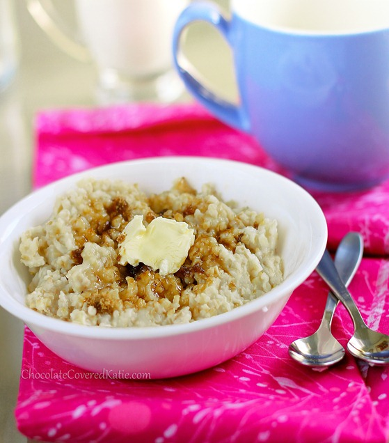 Crock Pot Oatmeal - The easiest way to make oatmeal. Cook once, and have a delicious breakfast all week - (can do different flavors) http://chocolatecoveredkatie.com/2012/11/11/how-to-make-oatmeal-in-the-slow-cooker-the-easy-way/ @choccoveredkt