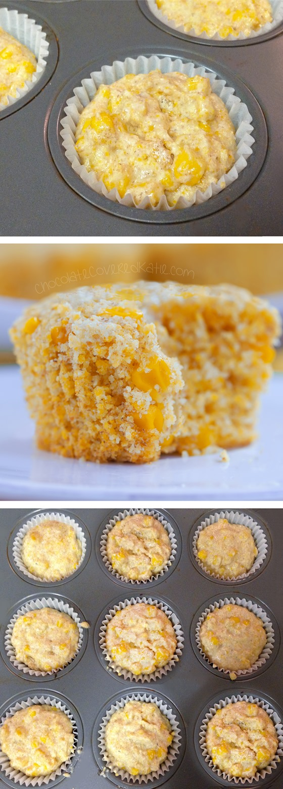 Healthy Corn Muffins - Ingredients: 1 cup corn, 1/2 cup milk of choice, 2 tsp vinegar, 2 tsp baking powder, 1 1/2 cup... Full recipe: http://chocolatecoveredkatie.com/2015/06/22/healthy-corn-muffins/ @choccoveredkt