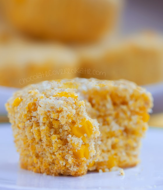 Bakery style corn muffins that turn out soft & absolutely delicious! We could not stop eating these! Full recipe: http://chocolatecoveredkatie.com/2015/06/22/healthy-corn-muffins/