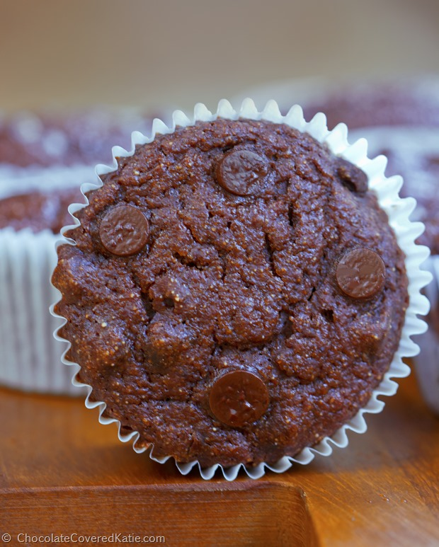 Yogurt replaces the oil for chocolate muffins that are both decadently rich and surprisingly healthy: http://chocolatecoveredkatie.com/2015/01/20/low-fat-chocolate-muffins-100-calories/