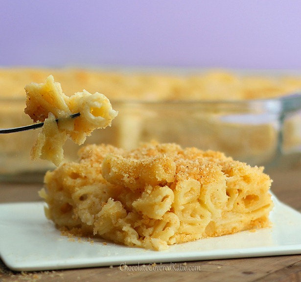So creamy and cheesy, this recipe might be the healthiest macaroni and cheese in the world. I've made it three times already... it is awesome! http://chocolatecoveredkatie.com/2012/12/09/vegan-macaroni-and-cheese/