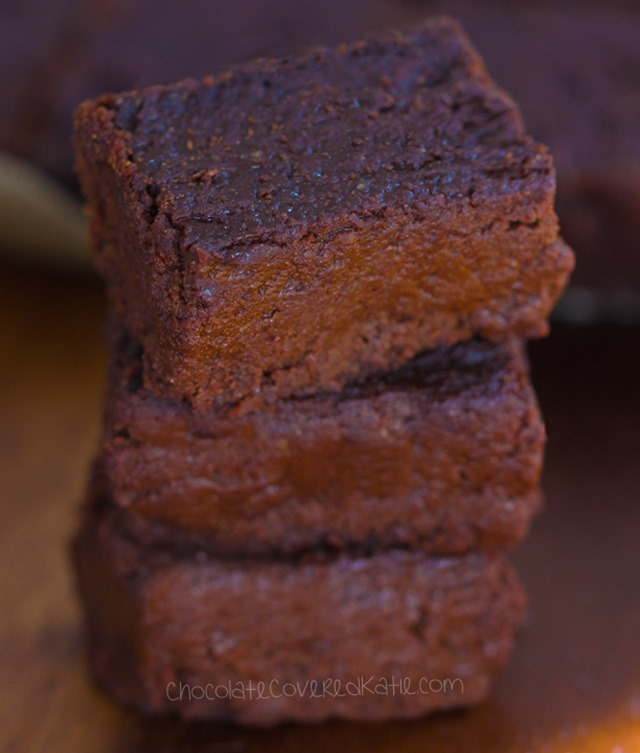 Rich, chocolatey, moist, decadent brownies from @choccoveredkt – fudgiest brownie recipe you will ever try: https://chocolatecoveredkatie.com/2016/01/26/unbelievable-melty-gooey-brownies/