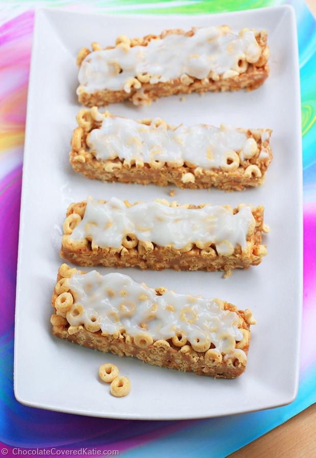 Customizable cereal bars for an on-the-go breakfast. You can use different cereals to change up the flavors : http://chocolatecoveredkatie.com/2015/01/11/customizable-milk-cereal-bars/