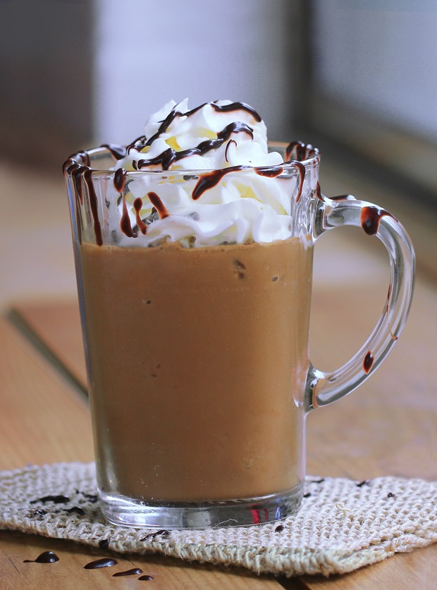 Make your own Creamy Frozen Blended Mocha Frappuccino at home, with this easy step-by-step recipe from @choccoveredkt! Full recipe: https://chocolatecoveredkatie.com/2015/08/24/homemade-mocha-frappuccino-recipe/