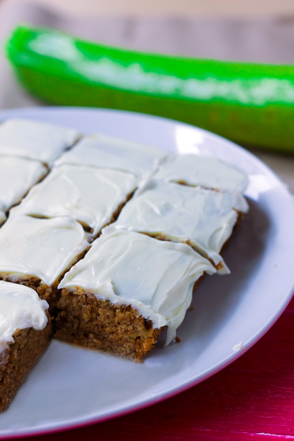 Irresistibly light and moist zucchini cake from @choccoveredkt, with a full cup of zucchini packed into the recipe! http://chocolatecoveredkatie.com/2015/07/20/zucchini-cake-recipe/