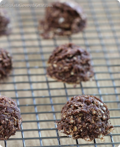 Easy #nobake chocolate cookies - VERY addictive - We couldn't stop eating them! http://chocolatecoveredkatie.com/2013/12/19/mexican-chocolate-bake-cookies/ @choccoveredkt