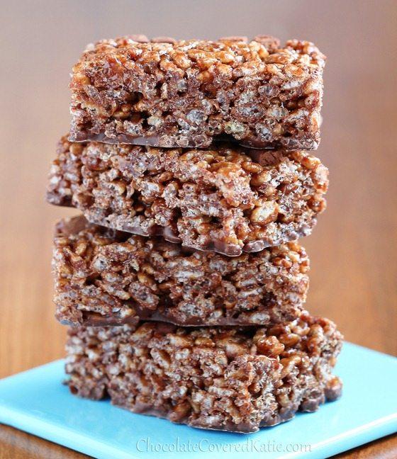 6 Ingredient Nutella Rice Crispy Treats: http://chocolatecoveredkatie.com/2013/04/09/healthy-chocolate-nutella-rice-crispy-treats/