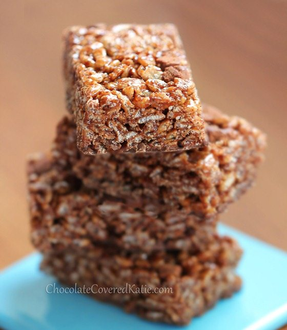 Healthy Chocolate Nutella Rice Crispy Treats
