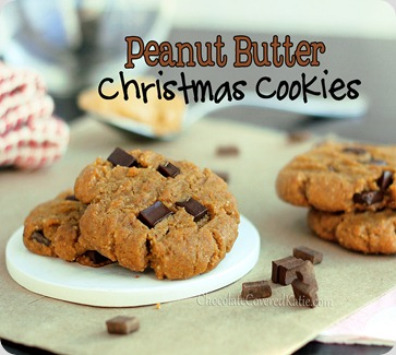 peanut butter chocolate chip gingerbread christmas cookies http://www.chocolatecoveredkatie.com/wp-content/uploads/Peanut-Butter-Gingerbread-Chocolate-Chip_A66F/pb-christmas-cookies.jpg