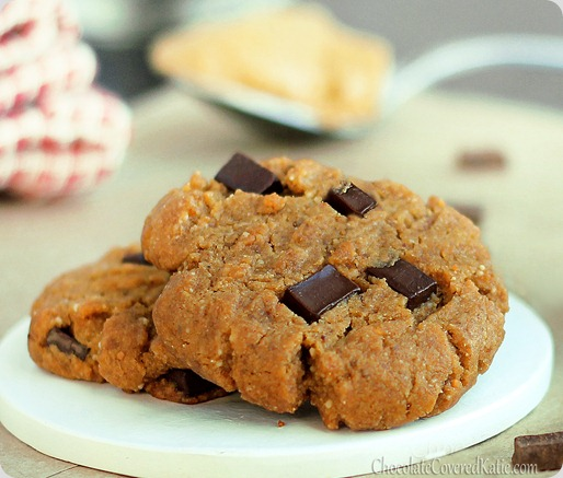 Peanut butter chocolate chip gingerbread christmas cookies! http://chocolatecoveredkatie.com/2012/12/11/peanut-butter-gingerbread-chocolate-chunk-cookies/