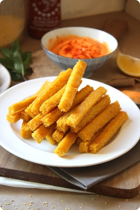 Cheezy Baked Polenta Fries: http://chocolatecoveredkatie.com