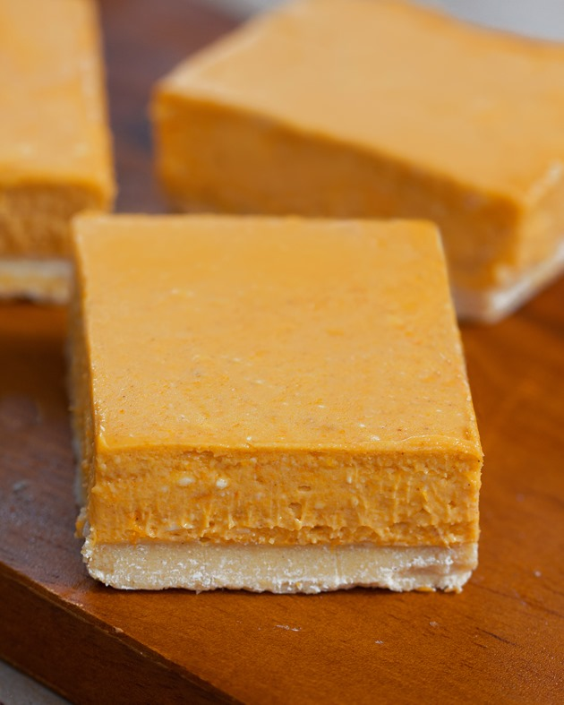 Easy-to-make pumpkin cheesecake bars from @choccoveredkt... Full recipe: http://chocolatecoveredkatie.com/2015/09/14/pumpkin-cheesecake-bars/