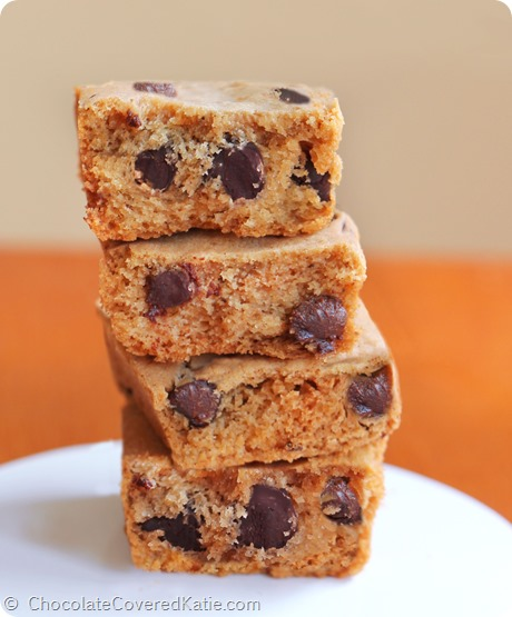 Pumpkin Chocolate Chip Cookie Bars: http://chocolatecoveredkatie.com/2014/09/15/pumpkin-chocolate-chip-cookie-bars/