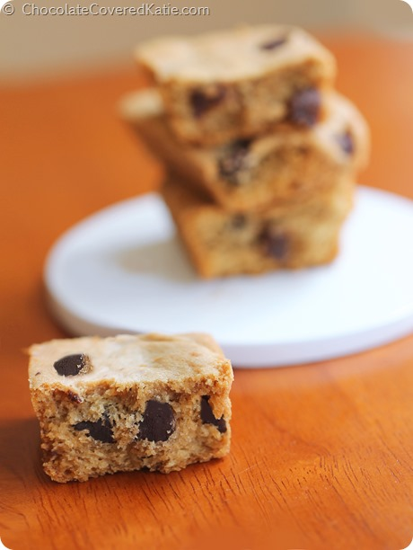Whole Grain Pumpkin Chocolate Chip Cookie Bars: http://chocolatecoveredkatie.com/2014/09/15/pumpkin-chocolate-chip-cookie-bars/