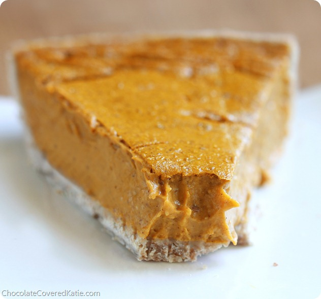 Healthy Pumpkin Pie - satisfies your cravings without weighing you down with fat and sugar... The recipe is easy to make and so impossibly creamy that no one ever guesses it's secretly good for you! http://chocolatecoveredkatie.com/2013/11/04/healthy-pumpkin-pie-recipe/ @choccoveredkt