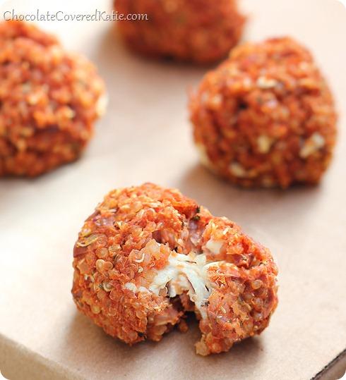 QUINOA PIZZA BITES  Everyone asks me for the recipe whenever I make these. Full recipe ---> http://chocolatecoveredkatie.com/2014/01/27/quinoa-pizza-bites/