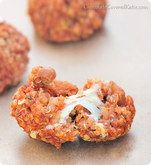 Quinoa pizza bites from @choccoveredkt Everyone always asks me for the recipe whenever I make these! Full recipe ---> http://chocolatecoveredkatie.com/2014/01/27/quinoa-pizza-bites/