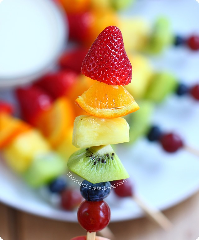Rainbow fruit kabobs from @choccoveredkt. Easy to make & kid-friendly snack. Rainbow fruit kabobs from @choccoveredkt. Easy to make & kid-friendly snack. http://chocolatecoveredkatie.com/2015/05/15/rainbow-fruit-kabobs/