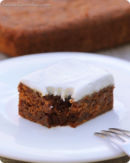 THREE secret ingredients make this the moistest gingerbread recipe you will ever eat... Every year, I count the days until the Christmas season when I get to make this gingerbread again! http://chocolatecoveredkatie.com/2013/12/13/gingerbread-recipe/ @choccoveredkt