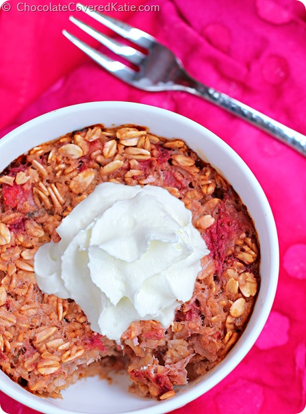 Strawberry Shortcake Baked Oatmeal: http://chocolatecoveredkatie.com/2014/08/19/strawberry-shortcake-baked-oatmeal/