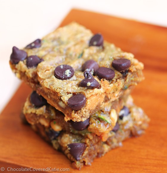 Zucchini Chocolate Chip Blondie Bars