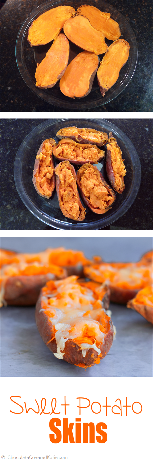 Irresistibly cheesy, addictively crispy, and secretly healthy, they are the perfect comfort food party appetizer. Really easy and quick to make: http://chocolatecoveredkatie.com/2015/01/22/loaded-baked-sweet-potato-skins/