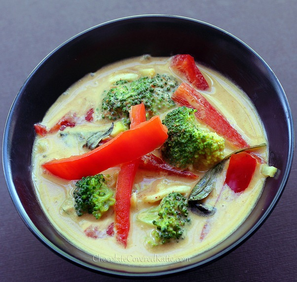 Thai Coconut & Peanut Butter Curry - in a thick and luxurious coconut sauce. http://chocolatecoveredkatie.com/2013/03/25/thai-coconut-peanut-butter-curry/
