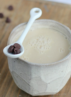 For those times when regular coffee just won't cut it, treat yourself to the creamy deliciousness of a homemade chocolate chip cookie dough latte: http://chocolatecoveredkatie.com/2013/01/21/the-chocolate-chip-cookie-dough-latte/