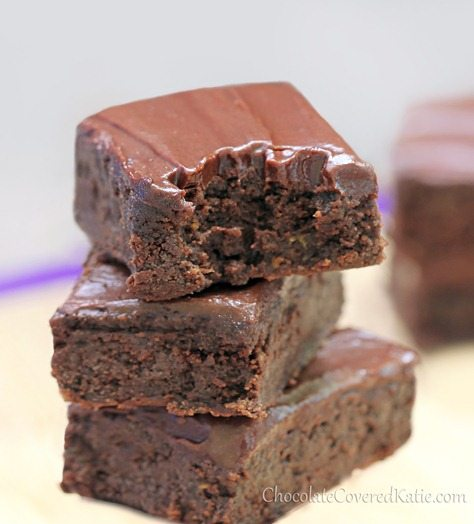 Rich, fudgy, moist chocolate brownies - with a secret! The zucchini makes these brownies MELT-IN-YOUR-MOUTH without the fat… This recipe is to die for! http://chocolatecoveredkatie.com/2013/05/31/healthy-chocolate-fudge-zucchini-brownies/ @choccoveredkt