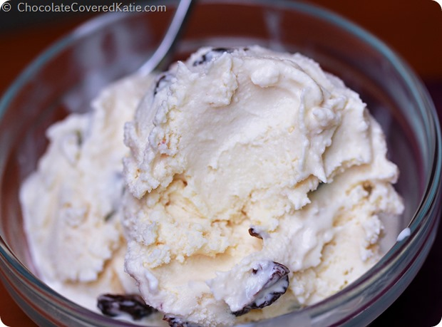 Vegan Rum Raisin Ice Cream: http://chocolatecoveredkatie.com/2014/08/17/rum-raisin-ice-cream-recipe/