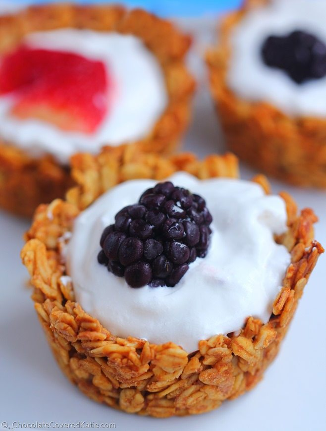 Breakfast Granola Cups - Ingredients: 2 cups rolled oats, 1/2 tsp vanilla extract, 1/2 tsp cinnamon, 1 1/3 cup... Full recipe: http://chocolatecoveredkatie.com/2015/01/06/customizable-breakfast-granola-cups/ @choccoveredkt