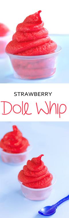 Easy recipe for Disney's popular frozen dessert --- just 5 ingredients: https://chocolatecoveredkatie.com/2015/04/23/strawberry-dole-whip-recipe/