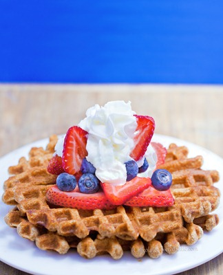 The recipe for fat-free waffles that don't taste like cardboard. This is one of my all-time favorite breakfast recipes: http://chocolatecoveredkatie.com/2013/06/17/healthy-waffles-recipe/