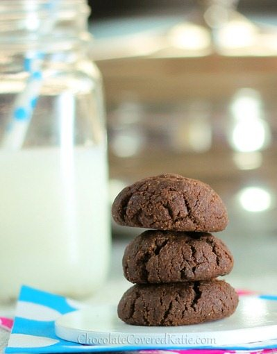 Dark, chocolatey, gooey, cakey, chewy brownie cookies… It is like eating a fudge brownie and a chocolate-chip cookie at the exact same time. For any chocolate lover, these are a MUST-TRY!  http://chocolatecoveredkatie.com/2012/12/04/double-chocolate-chip-brownie-cookies/