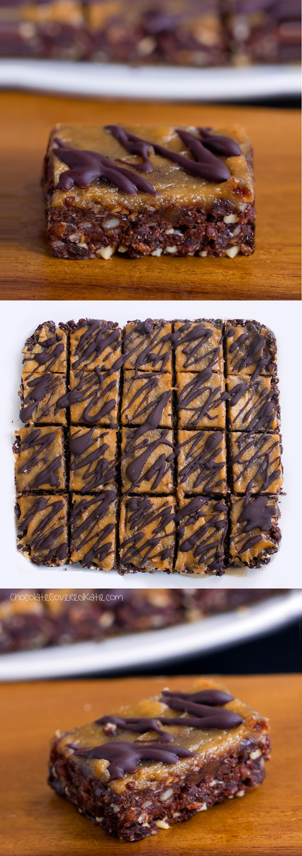 Secretly healthy brownie bars - from @choccoveredkt... oil-free, sugar-free, raw, #vegan, paleo, & gluten-free. Full recipe: https://chocolatecoveredkatie.com/2015/06/01/no-bake-chocolate-peanut-butter-brownie-bars/