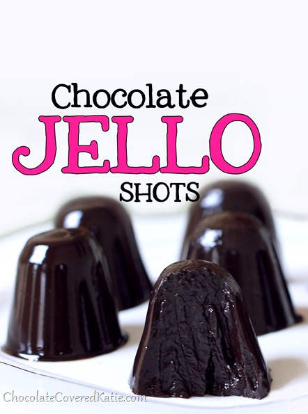 Chocolate jell-o shots (a perfect dessert to bring to parties) https://chocolatecoveredkatie.com/2013/12/05/chocolate-jello-shots/